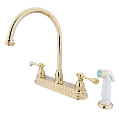 Vintage Double Handle Kitchen Faucet with White Non-Metallic Spray Finish: Polished Brass
