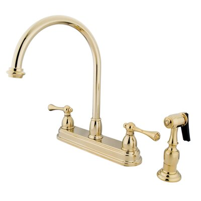 Vintage Double Handle Kitchen Faucet with Side Spray Finish: Polished Brass