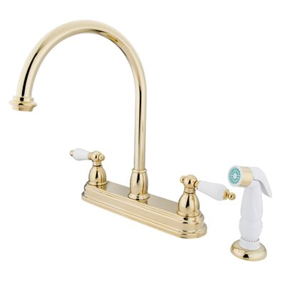Restoration Double Handle Kitchen Faucet with Non-Metallic Spray Finish: Polished Brass