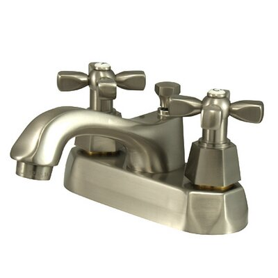 Metropolitan Double Handle Centerset Bathroom Faucet with Brass Pop-up Finish: Satin Nickel