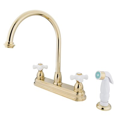 Restoration Double Handle Kitchen Faucet with White Non-Metallic Spray Finish: Polished Brass
