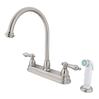 Restoration Double Handle Kitchen Faucet with Side Spray Finish: Satin Nickel