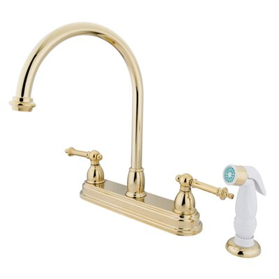 Tremont Double Handle CentersetKitchen Faucet with White Spray Finish: Polished Brass