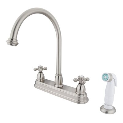 Restoration Double Handle Kitchen Faucet with Non-Metallic Spray Finish: Satin Nickel