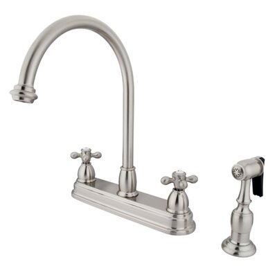 Restoration Double Handle Kitchen Faucet with Brass Spray Finish: Satin Nickel