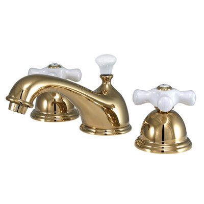 Restoration Double Handle Widespread Bathroom Sink Faucet with Brass Pop-up Finish: Polished Brass
