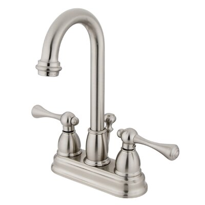 Vintage Double Handle Centerset Bathroom Faucet with ABS Pop-Up Drain Finish: Satin Nickel