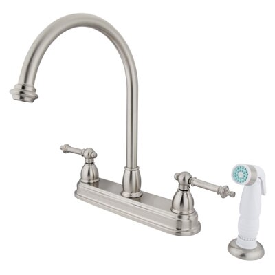 Tremont Double Handle CentersetKitchen Faucet with White Spray Finish: Satin Nickel