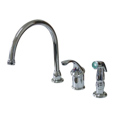 Georgian Single Handle Kitchen Faucet with Non-Metallic Spray Finish: Polished Chrome