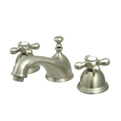 Restoration Double Handle Widespread Bathroom Sink Faucet with Brass Pop-up Finish: Satin Nickel