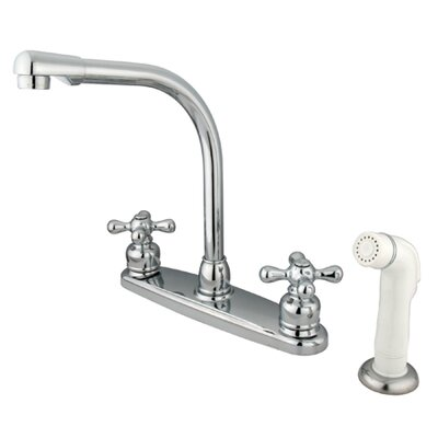 Victorian Double Handle CentersetHigh Arch Kitchen Faucet with White Spray Finish: Polished Chrome