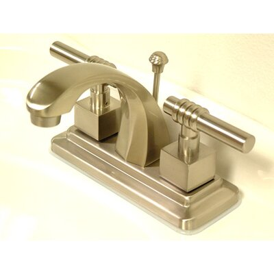 Milano Double Handle Centerset Bathroom Sink Faucet with Brass Pop-up Finish: Satin Nickel