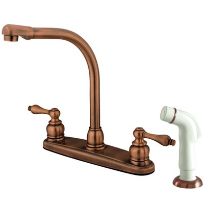 Victorian Double Handle Kitchen Faucet with Side Spray Finish: Vintage Copper