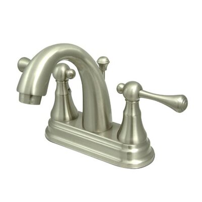 English Vintage Double Handle Centerset Bathroom Faucet with Brass Pop-Up Drain Finish: Satin Nickel