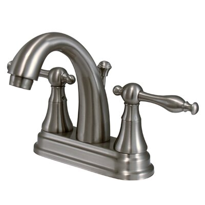 Normandy Double Handle Centerset Bathroom Sink Faucet with Brass Pop-up Finish: Satin Nickel