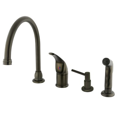 Chatham Single Handle Kitchen Faucet with Soap Dispenser Finish: Oil Rubbed Bronze