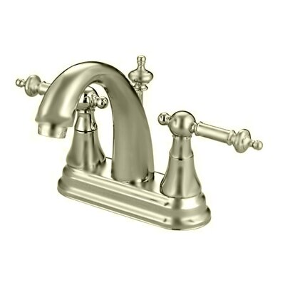 Templeton Double Handle Centerset Bathroom Faucet with Brass Pop-Up Drain Finish: Satin Nickel