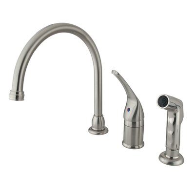 Chatham Single Handle Kitchen Faucet with Non-Metallic Side Spray Finish: Satin Nickel