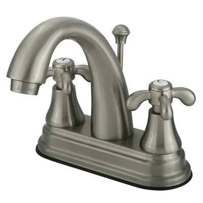 French Country Double Handle Centerset Bathroom Faucet with Brass Pop-Up Drain Finish: Satin Nickel