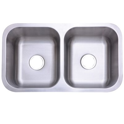 Marina Gourmetier 32.31 x 18.5 Stainless Steel Double Bowl Undermount Kitchen Sink
