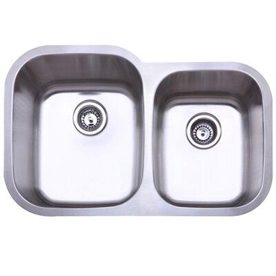 Bayshore 32 x 17.75 Gourmetier Double Bowl Undermount Kitchen Sink
