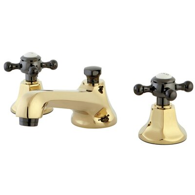 Water Onyx Double Handle Widespread Bathroom Faucet with Brass Pop-Up Drain Finish: Polished Brass/Black Nickel
