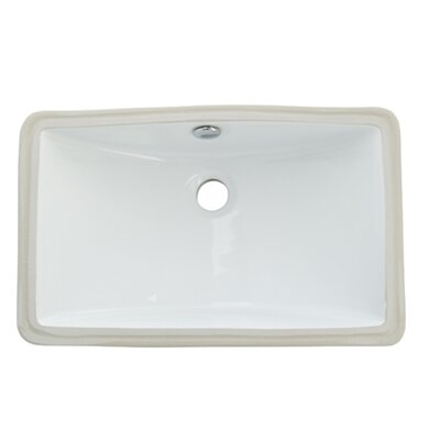 Courtyard Ceramic Rectangular Undermount Bathroom Sink with Overflow Finish: White