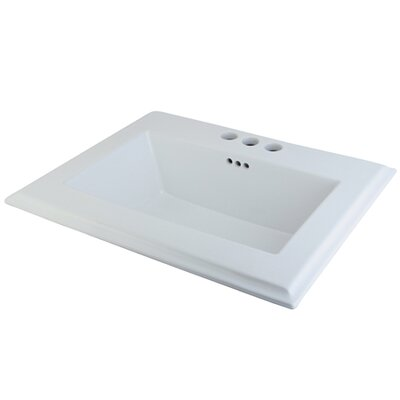 Concord Ceramic Rectangular Drop-In Bathroom Sink with Overflow Faucet Mount: 4 Centers