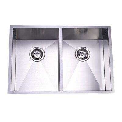 Towne Square 20.06 x 29 Gourmetier Stainless Steel Double Bowl Undermount Kitchen Sink