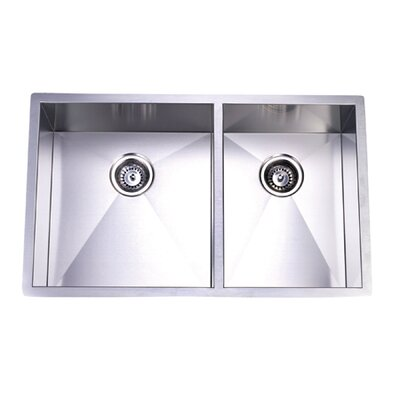 Gourmetier 20.06 x 33 Stainless Steel Double Bowl Undermount Kitchen Sink