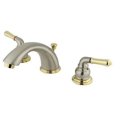 Magellan Double Handle Widespread Bathroom Faucet with ABS Pop-Up Drain Finish: Satin Nickel/Polished Brass