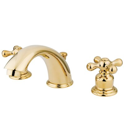 Victorian Double Handle Widespread Bathroom Faucet with Brass Pop-Up Drain Finish: Polished Brass