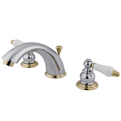 Victorian Double Handle Widespread Bathroom Faucet with Brass Pop-Up Drain Finish: Polished Chrome/Polished Brass