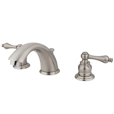 Victorian Widespread Double Handle Bathroom Faucet with Drain Assembly Finish: Satin Nickel