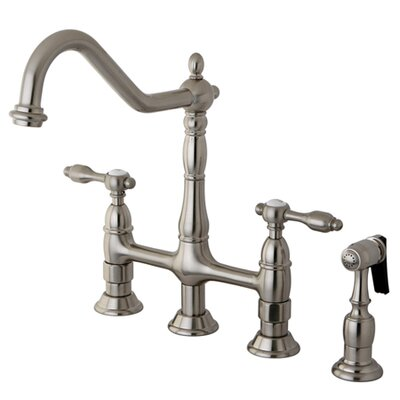 Tudor Double Handle Widespread Kitchen Faucet with Brass Spray Finish: Satin Nickel