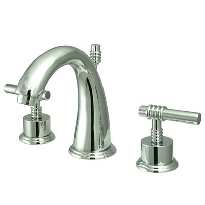 Milano Double Handle Widespread Bathroom Sink Faucet with Brass Pop-up Finish: Polished Chrome