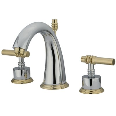 Milano Double Handle Widespread Bathroom Sink Faucet with Brass Pop-up Finish: Polished Chrome/Polished Brass