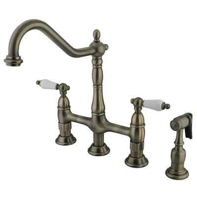 Heritage Double Handle Widespread Kitchen Faucet with Side Spray Finish: Vintage Brass