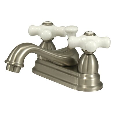 Restoration Double Handle Centerset Bathroom Sink Faucet with Brass Pop-up Finish: Satin Nickel