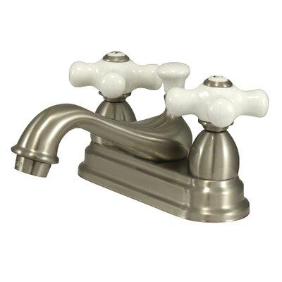 Restoration Double Handle Centerset Bathroom Sink Faucet with Brass Pop-up Finish: Satin Nickel