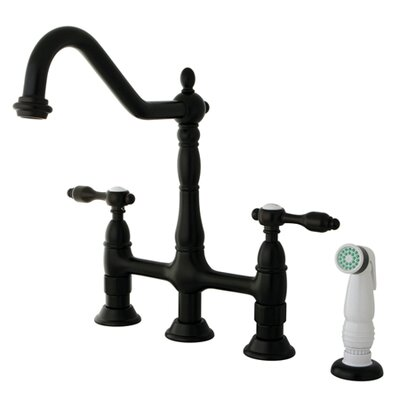 Tudor Double Handle Widespread Kitchen Faucet with Spray Finish: Oil Rubbed Bronze