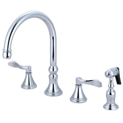 NuFrench Double Handle Deck Mount Kitchen Faucet with Brass Spray Finish: Polished Chrome