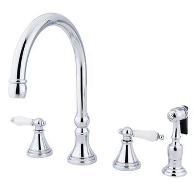 Governor Double Handle Deck Mount Kitchen Faucet with Side Spray Finish: Polished Chrome