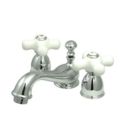 Restoration Double Handle Mini Widespread Bathroom Sink Faucet with Brass Pop-up Finish: Polished Chrome