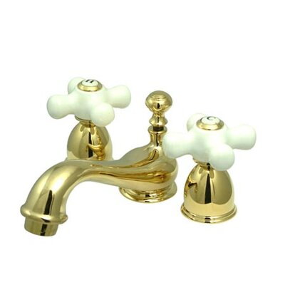 Restoration Double Handle Mini Widespread Bathroom Sink Faucet with Brass Pop-up Finish: Polished Brass