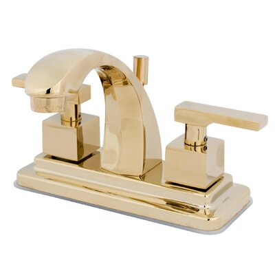 Executive Double Handle Centerset Bathroom Faucet with Brass Pop-Up Drain Finish: Polished Brass