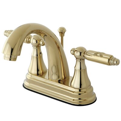 English Vintage Double Handle Centerset Bathroom Faucet with Brass Pop-Up Drain Finish: Polished Brass