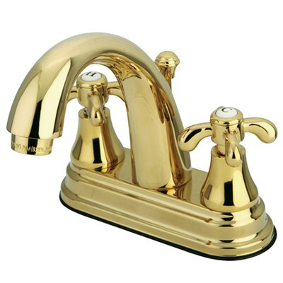 French Country Double Handle Centerset Bathroom Faucet with Brass Pop-Up Drain Finish: Polished Brass