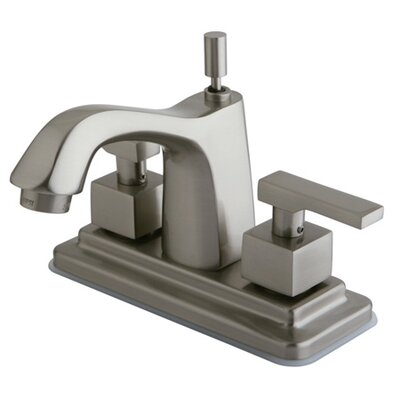 Executive Double Handle Centerset Bathroom Faucet with Brass Pop-Up Drain Finish: Satin Nickel