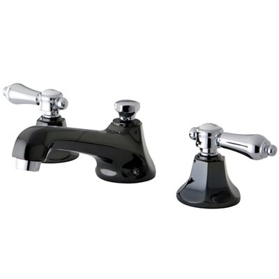 Water Onyx Double Handle Widespread Bathroom Faucet with Brass Pop-Up Drain Finish: Black Nickel/Polished Chrome